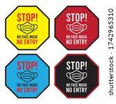 stop  no face mask no entry... | Shutterstock .eps vector #1742965310