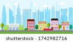 city urban landscape in flat... | Shutterstock .eps vector #1742982716