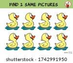 funny little duck is swimming.... | Shutterstock .eps vector #1742991950