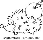 a hadgehog with an apple on a... | Shutterstock .eps vector #1743002480