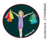 shopping girl clip art.in the... | Shutterstock .eps vector #1743008660