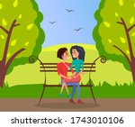 romantic illustration of young... | Shutterstock .eps vector #1743010106