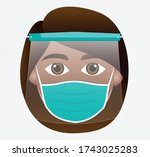 woman emoticon with face mask... | Shutterstock .eps vector #1743025283