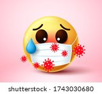 emoji infected of covid 19... | Shutterstock .eps vector #1743030680