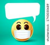 emoji smile face mask vector... | Shutterstock .eps vector #1743030689