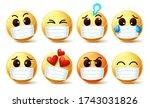 emoticon emoji wearing face... | Shutterstock .eps vector #1743031826