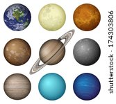 space set of isolated planets... | Shutterstock .eps vector #174303806