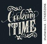 cooking time typography vector... | Shutterstock .eps vector #1743052046