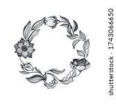 vector wreath of doodle flowers ...   Shutterstock .eps vector #1743066650