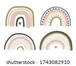 cute hand drawn baby rainbow in ...   Shutterstock . vector #1743082910