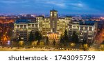 Wide panorama of Kharkiv city. Night city view of Kharkiv aerial panorama at twilight