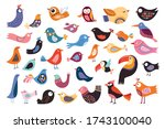 birds collection with different ... | Shutterstock .eps vector #1743100040
