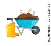 bright color wheel barrow... | Shutterstock .eps vector #1743118433