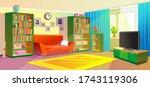 living  cozy room with sunlit...   Shutterstock .eps vector #1743119306