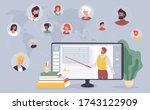 e learning  education training. ... | Shutterstock .eps vector #1743122909