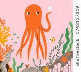 marine life  cute octopus ...   Shutterstock .eps vector #1743127319