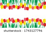 red  pink and yellow tulips... | Shutterstock .eps vector #1743127796