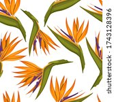 tropical flowers seamless...   Shutterstock .eps vector #1743128396