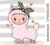 cute cartoon pink alpaca with a ...   Shutterstock .eps vector #1743141140