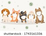 the banner of dog wear a mask... | Shutterstock .eps vector #1743161336