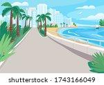 luxury seaside resort street... | Shutterstock .eps vector #1743166049