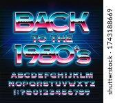 back to the 1980s alphabet font....   Shutterstock .eps vector #1743188669