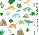 seamless watercolor... | Shutterstock . vector #1743202199