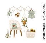stylish nursery room with... | Shutterstock .eps vector #1743228953
