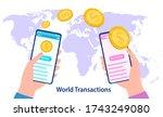world money transfer. hands... | Shutterstock .eps vector #1743249080