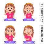 happy cute kid girl study body... | Shutterstock .eps vector #1743285146