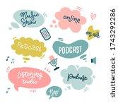 start podcasting lettering...   Shutterstock .eps vector #1743292286