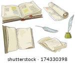 retro books. vector set of old  ... | Shutterstock .eps vector #174330398