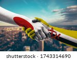 shaking hands japan and brunei   Shutterstock . vector #1743314690
