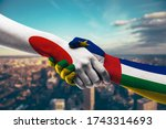 shaking hands japan and central ...   Shutterstock . vector #1743314693