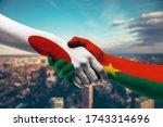 shaking hands japan and burkina ...   Shutterstock . vector #1743314696