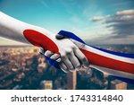 shaking hands japan and costa...   Shutterstock . vector #1743314840