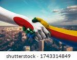 shaking hands japan and comoros   Shutterstock . vector #1743314849