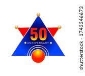anniversary of 50 years. golden ... | Shutterstock .eps vector #1743346673