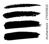set of hand drawn grunge brush... | Shutterstock . vector #174335810