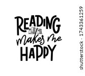 reading makes me happy. hand... | Shutterstock .eps vector #1743361259