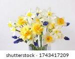 Bouquet Of Daffodils On A Whit...