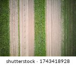 Eagle eye view of plowed and cultivated field with wheat and other vegetable sorts, around Zagreb city, Croatia