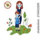mother with son outdoors in... | Shutterstock .eps vector #1743422309