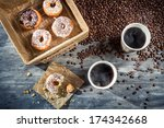 Coffee with donuts  for two - stock photo