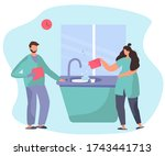 family washing dishes and... | Shutterstock .eps vector #1743441713