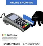 credit card terminal with human ... | Shutterstock .eps vector #1743501920
