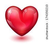 glossy red heart   Shutterstock .eps vector #174350210