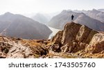 Hiker Or Alpinist At The Top Of ...