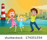 illustration of a happy family... | Shutterstock .eps vector #174351554