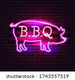 red and pink neon bbq pig sign... | Shutterstock .eps vector #1743557519